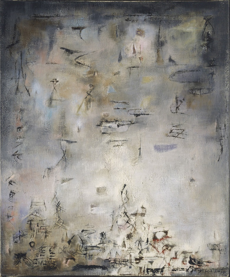Zao Wou-Ki (1920-2013), Neige Danse (Swirling Snow), 1955. Oil on canvas. 73 x 60 cm (28¾ x 23⅝ in). Estimate HK$20,000,000-25,000,000. This work is offered in the Asian 20th Century & Contemporary Art Evening Sale on 26 May 2018 at Christie's in Hong Kong