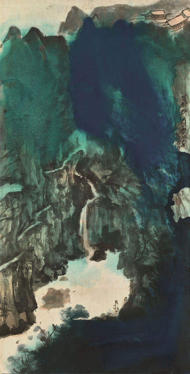 Zhang Daqian (1899-1983), Viewing the Waterfall. Scroll, mounted and framed, ink and colour on paper. 134 x 68 cm (52¾ x 26¾ in). Estimate HK$60,000,000-80,000,000. This work is offered in Fine Chinese Modern Paintings on 29 May 2018 at Christie's in Hong Kong