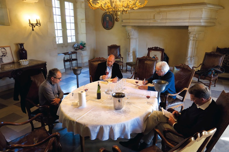 Christie's specialist Edwin Vos joins Francois Millet and Jean-Luc Pépin of Domaine Comte Georges de Vogüé, and Anthony Hanson MW, in tasting the wines offered in the auction