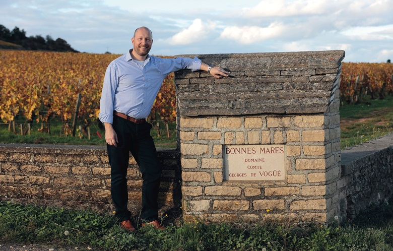 Edwin Vos at the entrance to the Bonnes-Mares vineyard