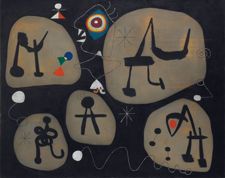 Joan Miró (1893-1983), Femme entendant de la musique, 1945. Oil on canvas. 51 x 63⅝ in (129.5 x 161.6 cm). Estimate $10,000,000-15,000,000. Offered in the Impressionist and Modern Art Evening Sale on 15 May at Christie's in New York © Successió Miró  Artists Rights Society (ARS), New York  ADAGP. Paris