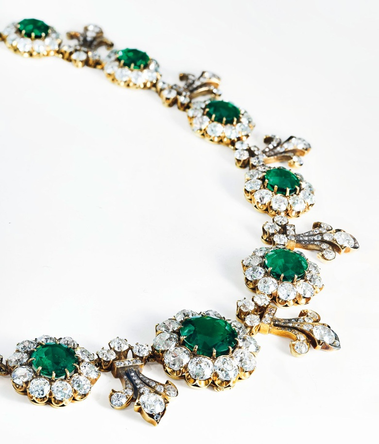An important late 19th-century emerald and diamond necklace by Tiffany & Co., 1880s. Thirteen graduated circular-cut emeralds (from approximately 7.19 to 1.70 carats each), old-cut diamonds, gold, 39.0 cm, blue Garrard case. Sold for CHF 1,572,500 on 16 May 2018 at Christie's in Geneva