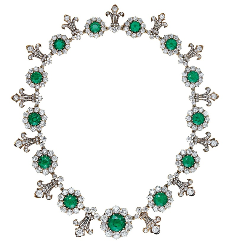 An important late 19th century emerald and diamond necklace by Tiffany & Co., 1880s. Thirteen graduated circular-cut emeralds (from approximately 7.19 to 1.70 carats each), old-cut diamonds, gold, 39.0 cm, blue Garrard case. Sold for CHF 1,572,500 on 16 May 2018 at Christie's in Geneva