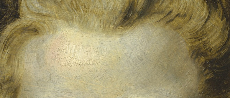 This close-up of Clara Serena's forehead shows thick, impasto paint worked with a badger-hair brush