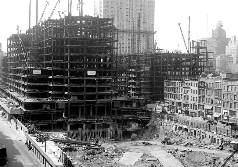 Construction of Rockefeller Center, 3 May 1932. Photo NY Daily News ArchiveGetty Images