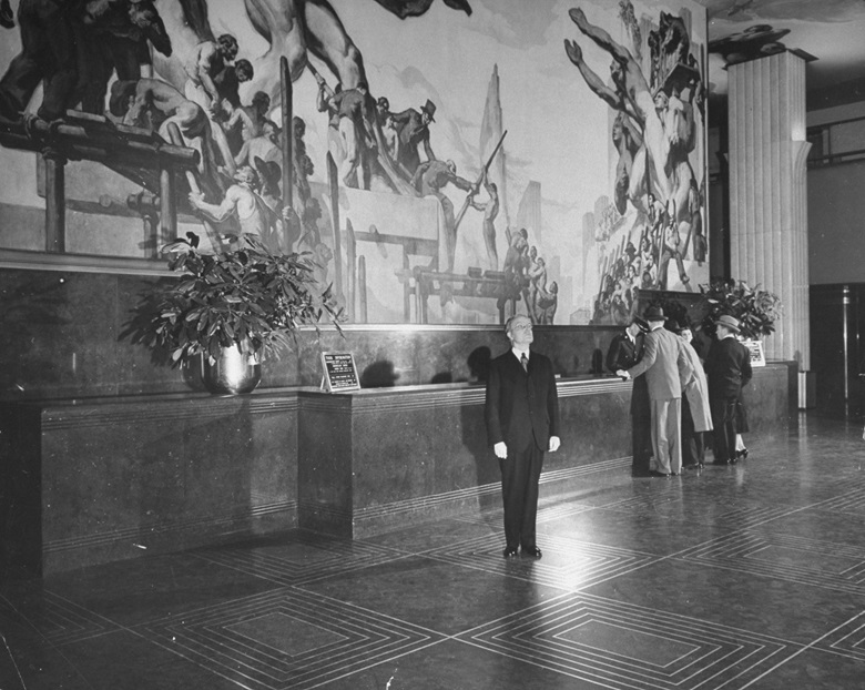 John D. Rockefeller, Jr. at Rockefeller Center, 1940, in front of the mural American Progress  by José María Sert. Photo by Bernard HoffmanThe LIFE Picture CollectionGetty Images