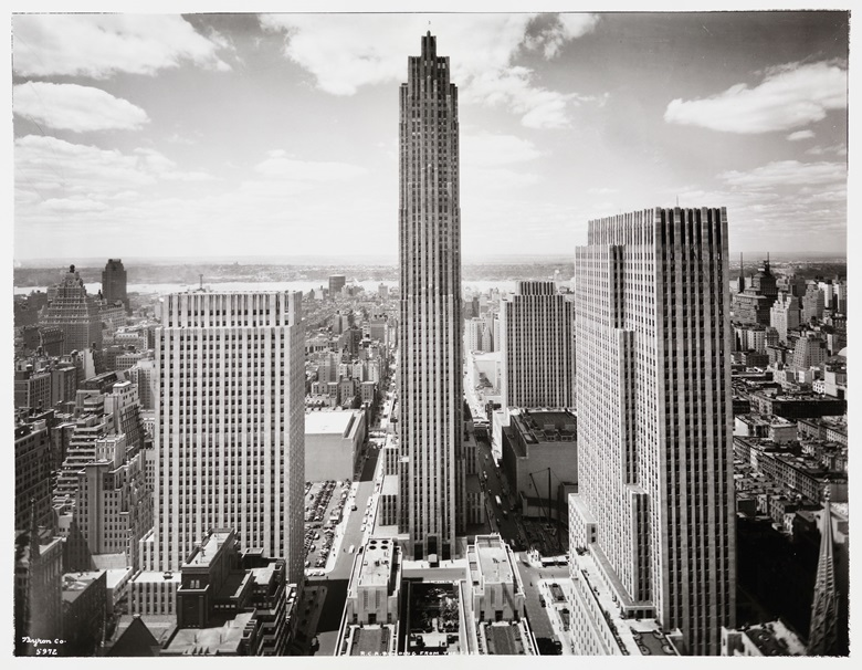 R.C.A. Building and Rockefeller Center in the New York skyline, looking west from 444 Madison Avenue, circa 1935. Photo by Byron Company, The Museum of the City of New YorkArt Resource