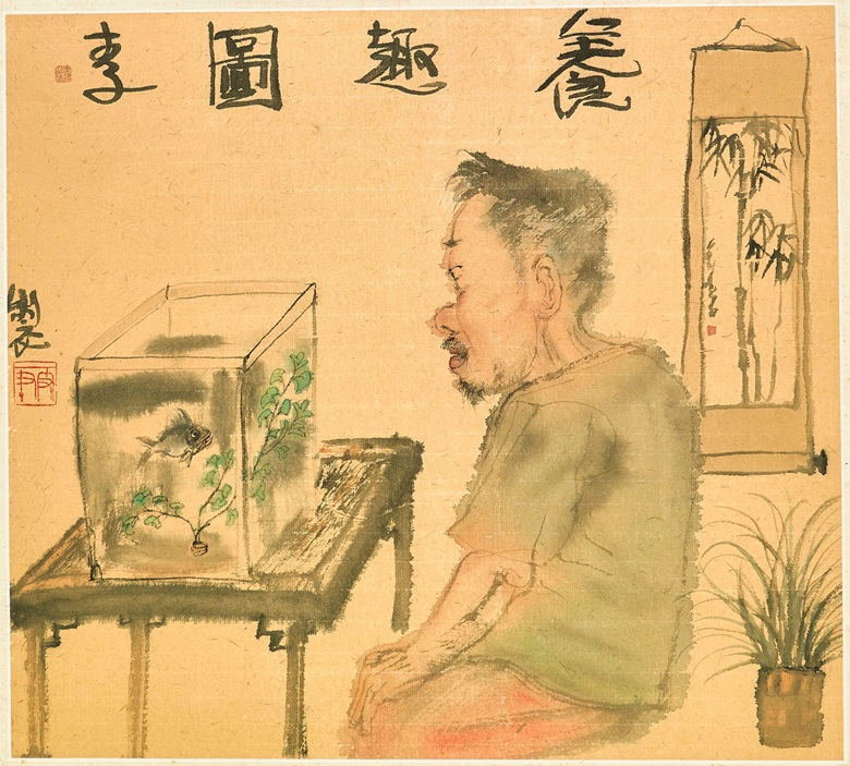 Li Jin (B. 1958), Cultivating Interest (scroll 1). A set of two scrolls, mounted and framed, ink and colour on paper. 40.5 x 45 cm (16 x 17¾ in)  37.5 x 43 cm (14¾ x 16⅞ in). Estimate HK$90,000-120,000. Offered in Chinese Contemporary Ink  on 28 May at Christie's in Hong Kong