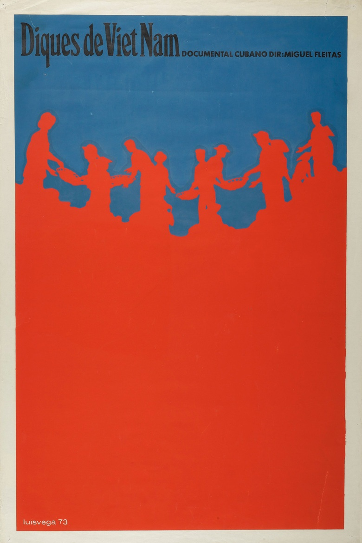 Luis Vega De Castro (b. 1944),Diques de Viet Nam, 1973. Silkscreen poster. 30 x 19⅞ in (76.2 x 50.5 cm)