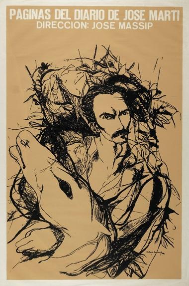Servando Cabrera Moreno (1923-1981), Páginas del diario de José Martí, 1972. Silkscreen poster. 30 x 19⅞ in (76.2 x 50.5 cm)
