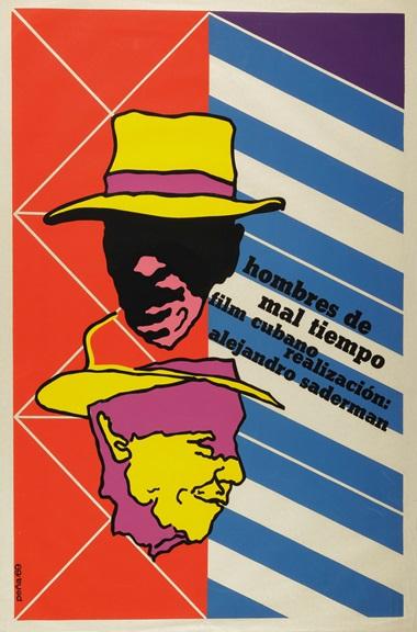 Umberto Peña (b. 1937),Hombres de mal tiempo, 1969. Silkscreen poster. 30 x 19⅞ in (76.2 x 50.5 cm)