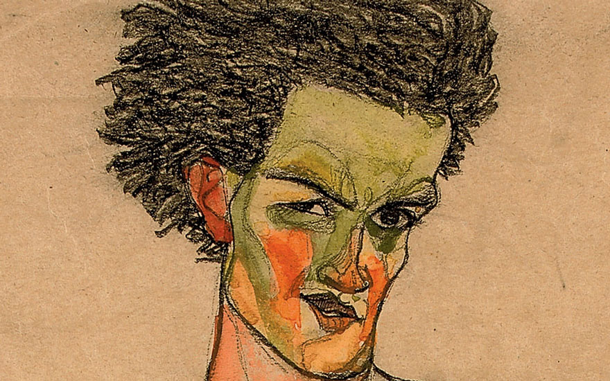 (Detail) Egon Schiele (1890-1918), Selbstbildnis, 1910. Watercolour and charcoal on paper. 17⅞ x 12 in (45.2 x 30.5 cm). Sold for £1,385,250 on 23 June 2010 at Christie's London