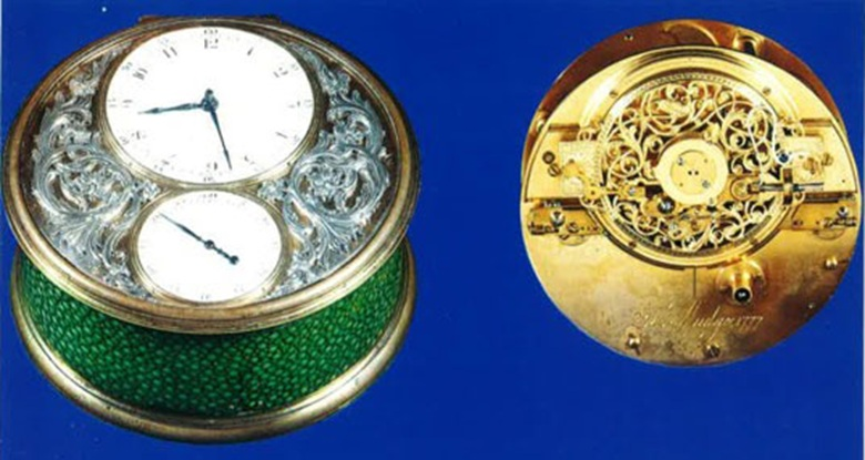 The Green gold and enamel marine timekeeper sold in 1976 at Christies in Geneva for CHF 250,000