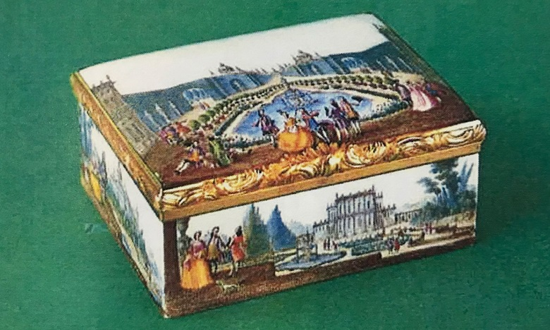 A gold-mounted Meissen snuffbox sold in 1975 at Christie's in Geneva for CHF 95,000