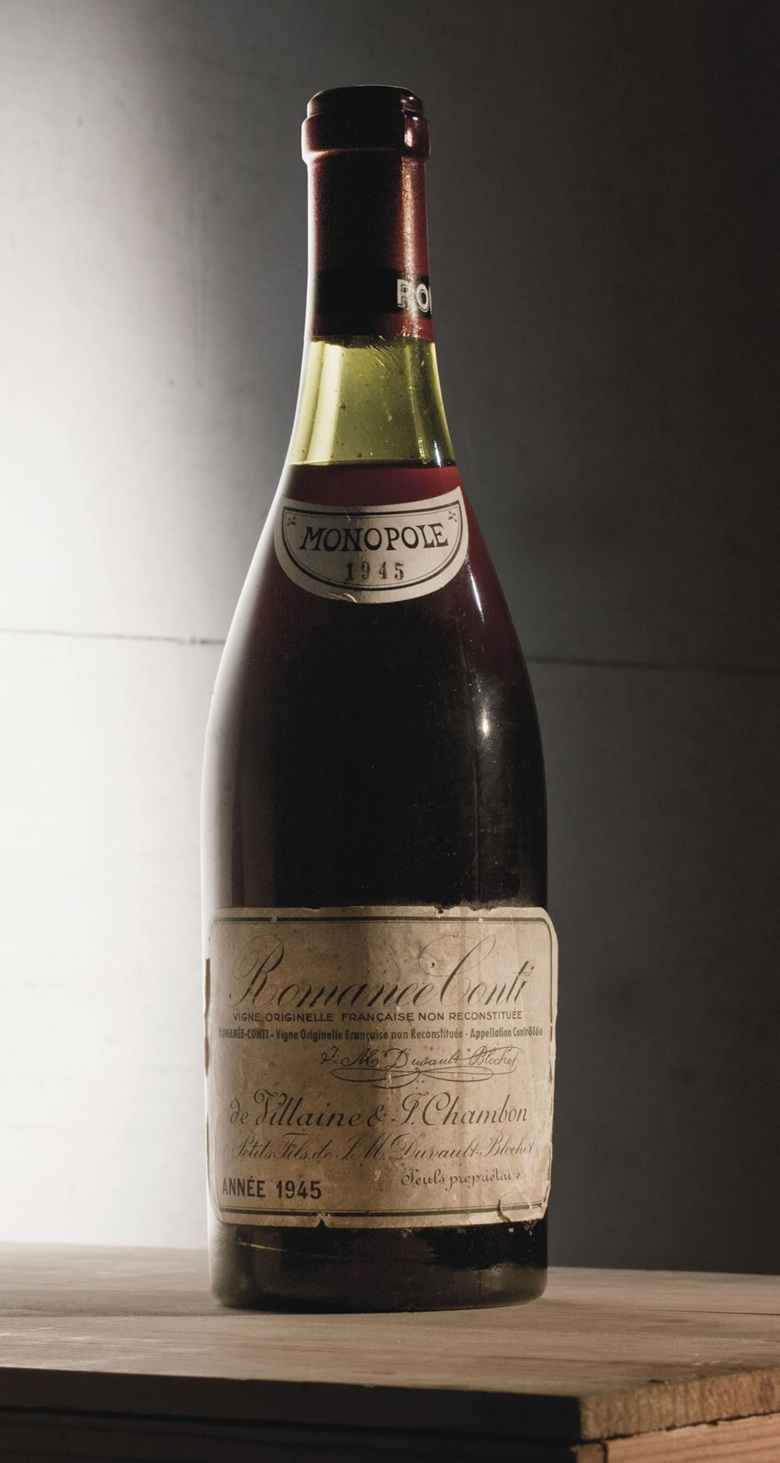 Romanée-Conti 1945. Sold for CHF 109,250 on 17 May 2011 at Christie's in Geneva