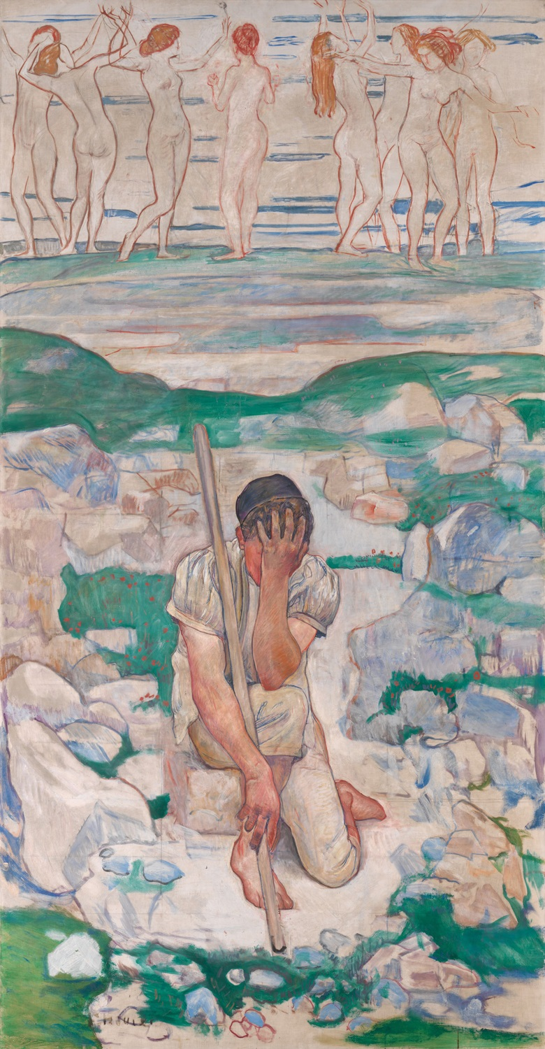 Ferdinand Hodler (1853-1918), Der Traum des Hirten, 1896. 239 x 149 cm. Sold for CHF 2,880,000 on 11 December 2013 at Christie's in Zurich, Vortragssaal Kunsthaus