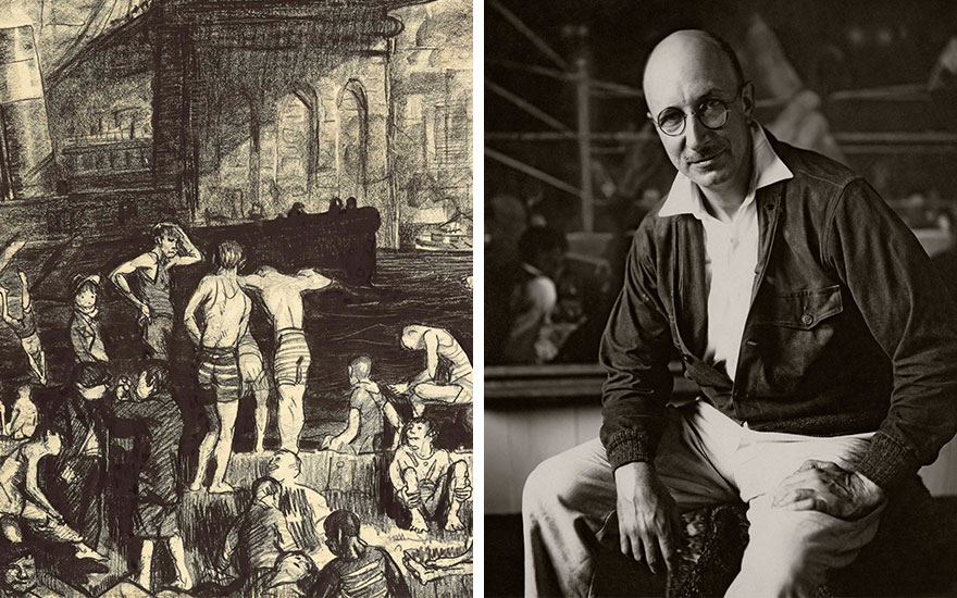 Detail of George Wesley Bellows (1882-1925), Splinter Beach, 1913, and Bellows photographed in 1924. Behind him is a detail of his work Dempsey and Firpo, 1924. Photo by Florence