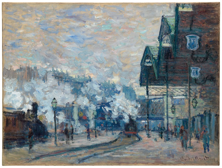 Claude Monet (1840-1926), La Gare Saint-Lazare, Vue extérieure, 1877. Oil on canvas. Estimate on request. Offered in Impressionist and Modern Art Evening Sale on 20 June 2018 at Christie's in London