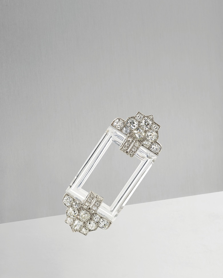 An Art Deco rock crystal and diamond brooch. Cartier. c. 1920. Height 6.8 cm. Signed Cartier and numbered. Estimate £15,000-20,000. Offered in Important Jewels at Christie's in London on 13 June 2018