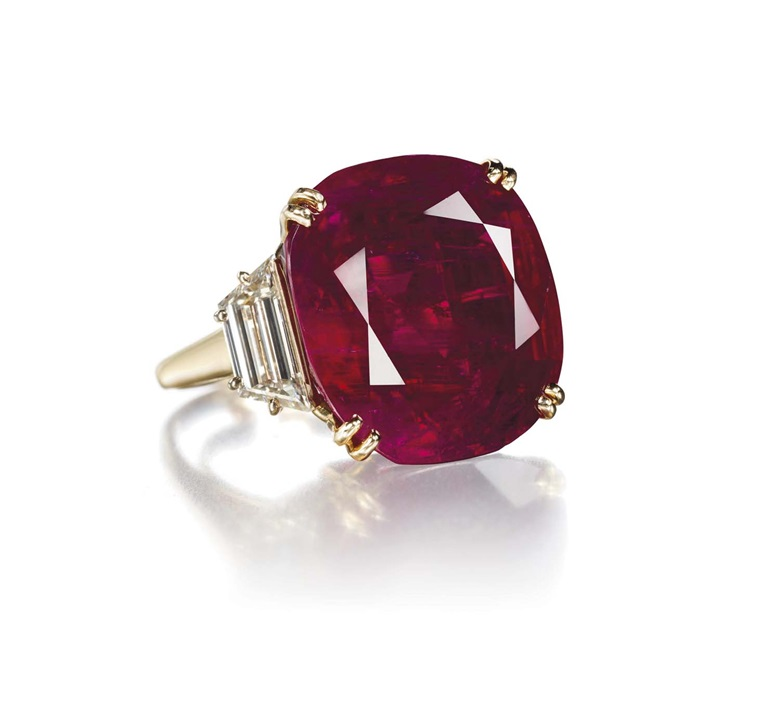 A ruby and diamond ring, by Chaumet. Sold for CHF 6,243,000 on 14 May 2012 at Christie's in Geneva. © Denis Hayoun  Diode SA