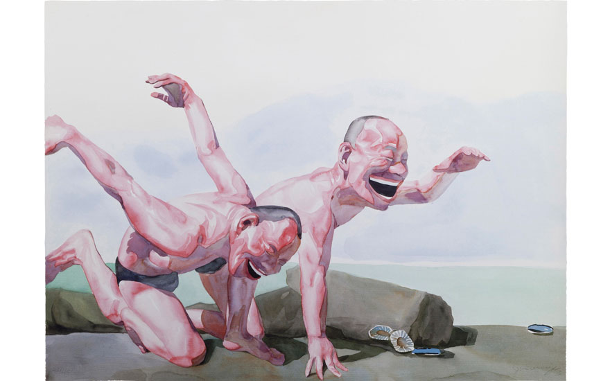 Yue Minjun (China, b. 1962), Untitled (Smile-ism No. 24). 80 x 110 cm (31½ x 43¼ in). Estimate                    $3,000-5,000. Offered in Contemporary Art Asia New York Edition, 22-30