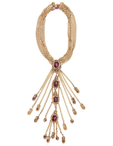 Chanel purple poured-glass and multi-chain pendant necklace. Sold for $1,375 on 14 June 2018, Online