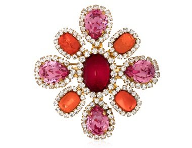 Chanel orange and red poured glass and pink and white rhinestone pendant brooch. Sold for $1,000 on 14 Jun 2018, Online