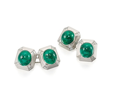 Art Déco emerald and diamond Cufflinks by Cartier, circa 1930. Estimate £14,000-18,000. This lot is offered in Important Jewels on 13 June at Christie's in London