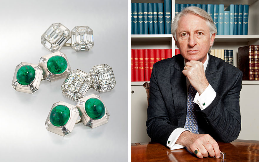 Left A pair of diamond cufflinks by Cartier, estimate £20,000-30,000, and a pair of emerald and diamond cufflinks by Cartier, estimate £14,000-18,000. Offered in Important Jewels at