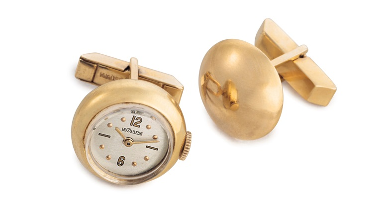 Jaeger-LeCoultre. A pair of 14k gold cufflinks. Signed Jaeger-LeCoultre, movement no. 769383, case no. 5188377. Manufactured in 1951. Estimate $2,000-3,000. Offered in An Evening of Exceptional Watches on 13 June at Christie's in New York