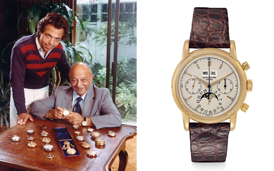 Left Mel Blanc and his son Noel with their watch collection. Right a very fine and rare 18k gold perpetual calendar chronograph wristwatch with moon phase by Patek Philippe, from Mel Blanc's