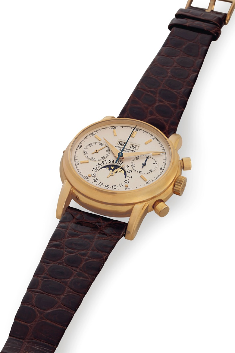 Patek Philippe. A very fine and rare 18k gold perpetual calendar chronograph wristwatch with moon phases. Signed Patek Philippe, Genève. Ref. 2499100, movement no. 869250, case no. 2792106. Manufactured in 1982. Estimate $350,000-550,000. Offered in An Evening of Exceptional Watches on 13 June at Christie's in New York