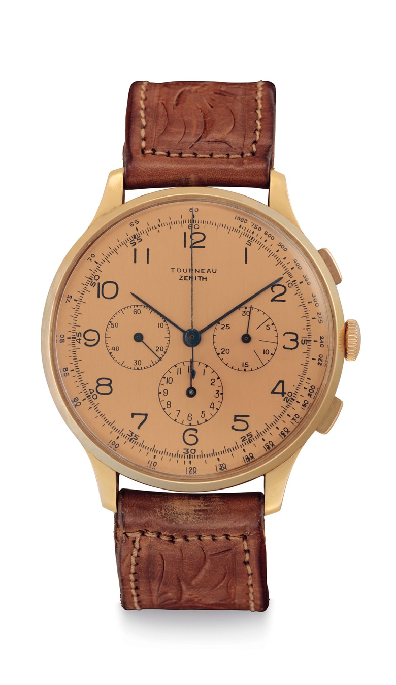 Zenith. A fine and large 18k pink-gold chronograph wristwatch with pink dial. Signed Zenith. Retailed by Tourneau, no. 793635, & 12516, circa 1940. Estimate $12,000-18,000. Offered in An Evening of Exceptional Watches on 13 June at Christie's in New York