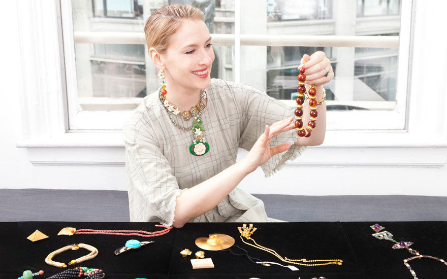 Lisa Salzer-Wiles with some of the jewellery offered in Interiors New York Visions on 6 June at Christie's in New York