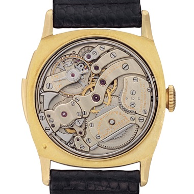 The original owner of this watch was visually impaired and relied heavily on the minute repeater to tell the time, using the simple slide fitted to the side of the case and then listening as it chimed the hours, quarter hours and minutes of each day