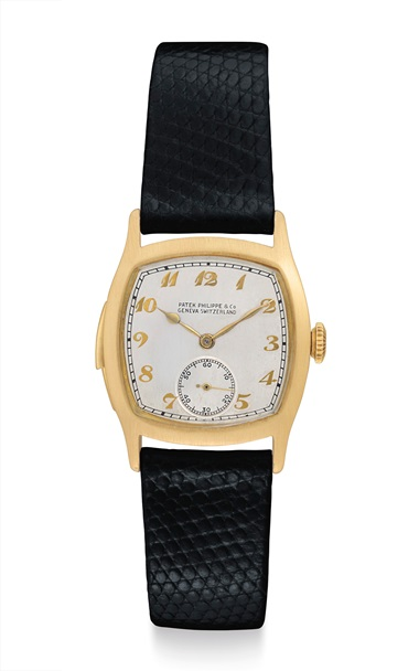 Patek Philippe. An extremely rare and early 18k gold cushion-shaped minute repeating wristwatch with Breguet numerals. Signed Patek Philippe & Co., Genève, Switzerland. Movement no. 198'378, case no. 609'358, manufactured in 1930. Estimate $400,000-800,000. Offered in An Evening of Exceptional Watches on 13 June at Christie's in New York