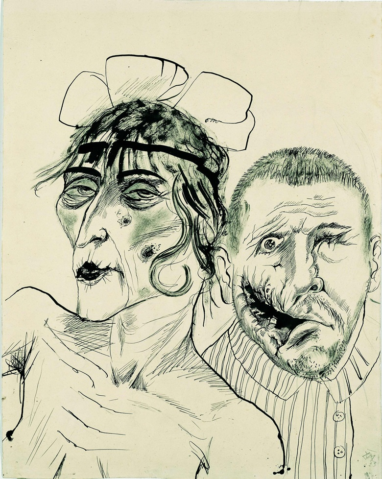 Otto Dix (1891-1969) Prostitute and Disabled War Veteran. Two Victims of Capitalism. 1923. Pen and ink on yellow cardboard. 469 x 373 mm. LWL-Museum für Kunst and Kultur (Westfälisches Landesmuseum)  Sabine Ahlbrand-Dornseif. © Estate of Otto Dix 2018
