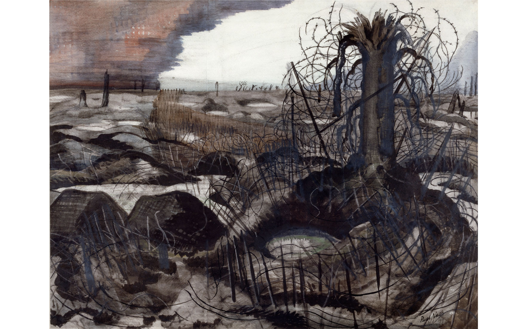 Paul Nash (1889-1946), Wire. 1918-19. Watercolour, chalk and ink on paper. 486 x 635 mm © IWM (Art.IWM ART 2705)