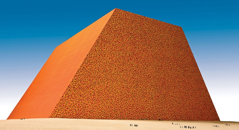 Christo, The Mastaba of Abu Dhabi (Project for United Arab Emirates). Scale model 1979. Enamel paint, wood, paint, sand and cardboard. 32½ x 96 x 96 in (82.5 x 244 x 244 cm). Photo Wolfgang Volz. © 1979 Christo