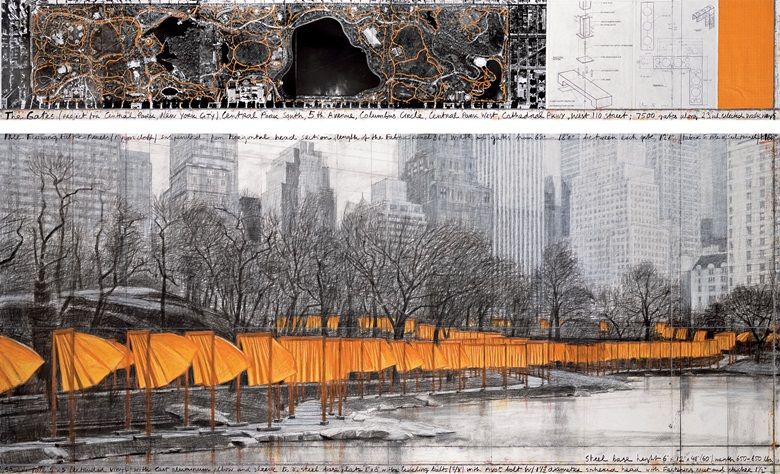 Christo, The Gates (Project for Central Park, New York City). Drawing 2003 in two parts. Pencil, charcoal, pastel, wax crayon, fabric sample, aerial photograph and hand-drawn technical data. 15 x 96 in and 42 x 96 in (38 x 244 cm and 106.6 x 244 cm). Whitney Museum of American Art, New York City, USA (Gift of Melva Bucksbaum and Raymond Learsy). Photo André Grossmann. © 2003 Christo