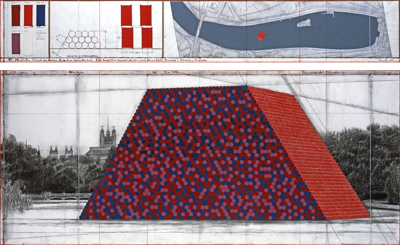 Christo, The Mastaba (Project for London, Hyde Park, Serpentine Lake). Drawing 2017 in two parts. Pencil, charcoal, wax crayon, enamel paint, hand-drawn map on vellum, technical data and tape. 38 x 244 cm and 106.6 x 244 cm. Photo André Grossmann. © 2017 Christo. The temporary sculpture will float on the Serpentine Lake from 18 June to 23 September 2018