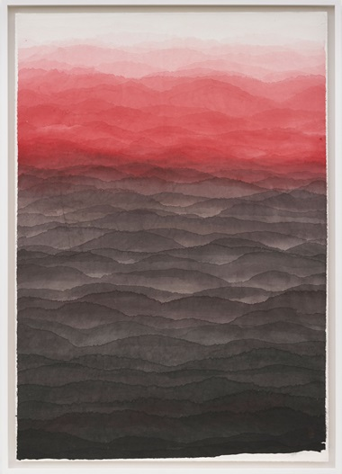 Minjung Kim, Mountain, 2017. Watercolour on mulberry Hanji paper. 192 x 134 cm. © The artist. Photo © White Cube (George Darrell)