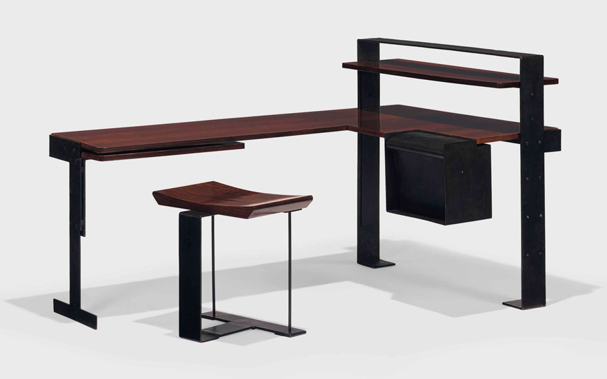 Pierre Chareau (1883-1950), a desk and stool, model MB 405, circa 1927. 19¼  in (48.9  cm) high, 19⅝  in (49.8  cm) wide. Estimate $350,000-500,000. Offered in Design on 20 June 2018 at