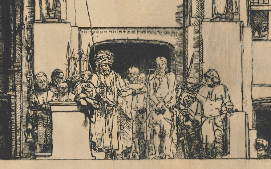 Detail of Rembrandt Harmensz. Van Rijn (1606-1669), Christ presented to the people ('Ecce Homo'). Sheet 15 x 17⅝  in (38.7 x 44.8  cm). Estimate On request. Offered in Old Masters