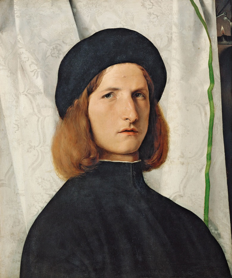 Lorenzo Lotto (1480-1557), Portrait of a Young Man with a Lamp, c. 1508. Oil on panel, 42.3 x 35.3 cm. Vienna, Kunsthistorisches Museum, Gemäldegalerie