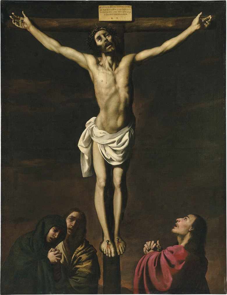 Francisco de Zurbarán (1598-1664), Christ on the Cross, with the Virgin and Saints Mary Magdalene and John the Evangelist. Oil on canvas. 83½ x 64¼ in (212 x 163 cm). Private Collection