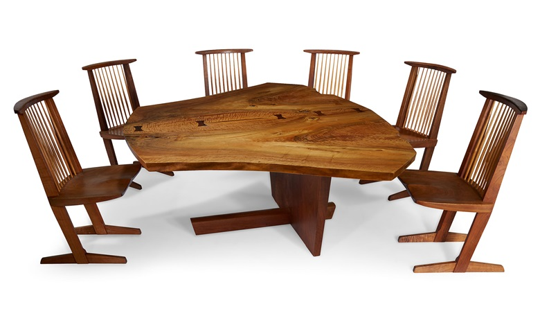 George Nakashima (1905-90), The Frosh Family Sanso 'Reception House' table and set of six conoid chairs, New Hope Pennsylvania, 1981. English walnut, American black walnut, rosewood hickory. Courtesy Geoffrey Diner Gallery