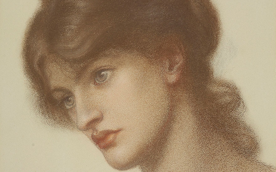 Detail of Dante Gabriel Rossetti's (1828-1882), Head study of Marie Spartali Stillman (1844-1927) for Dantes Dream. 14¼ x 11⅝  in (36.2 by 29.5  cm) (folded); 21½ x 24  in (54