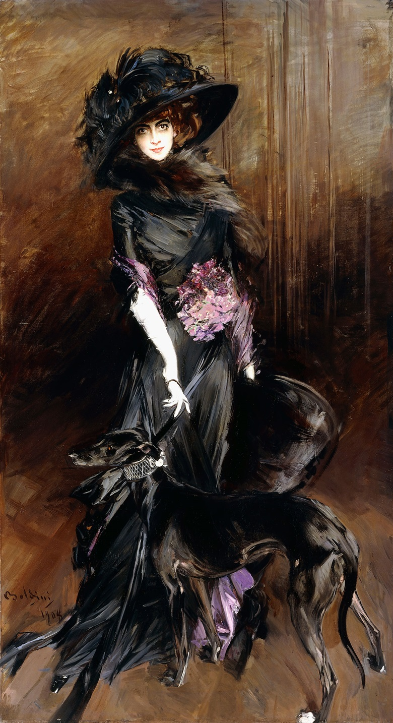 Giovanni Boldini, Marchesa Luisa Casati with a Greyhound, 1908. Private collection. From High Society at the Rijksmuseum, 8 March-3 June 2018
