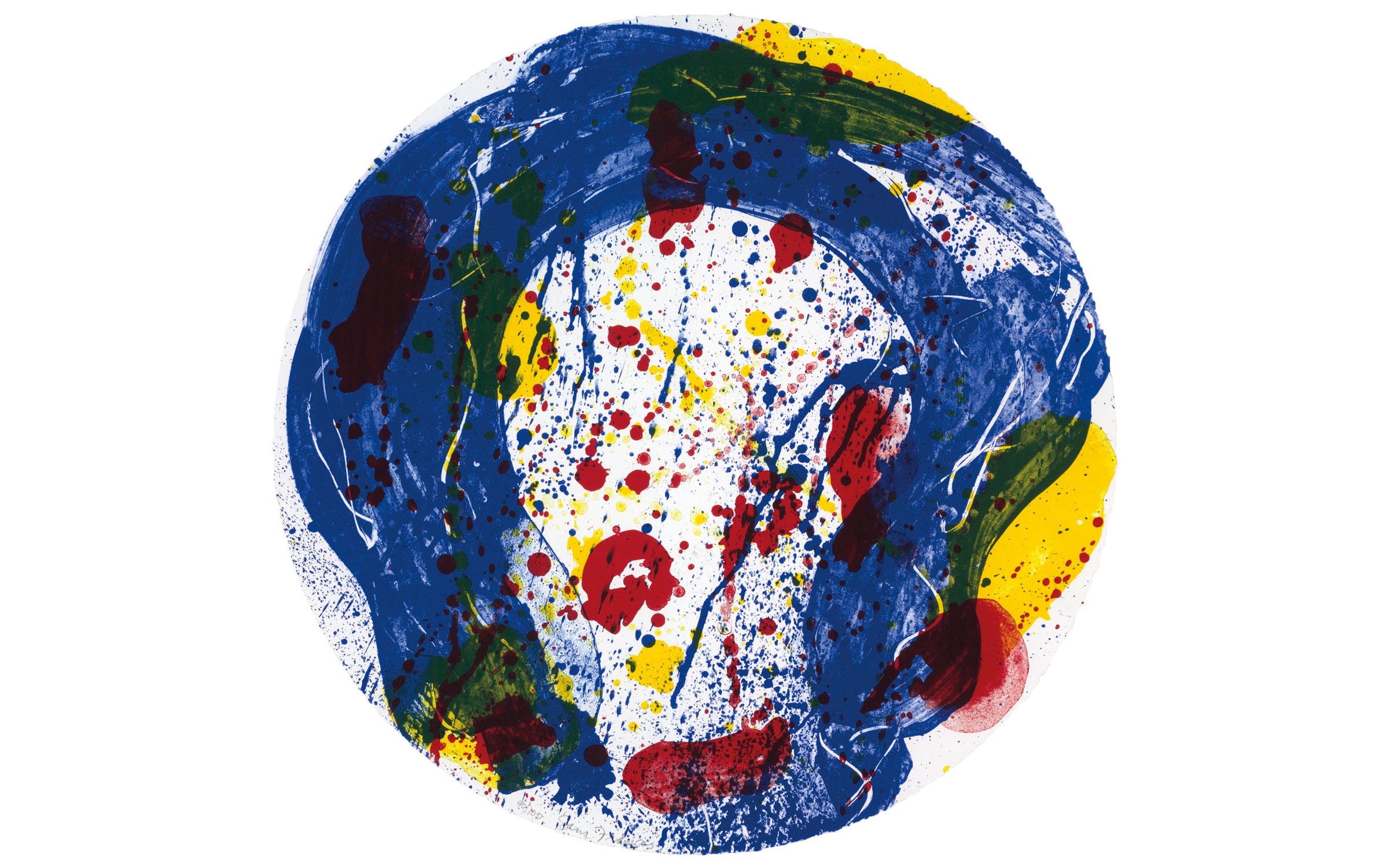 Sam Francis (1923-1994), Untitled (SF 348). Diameter 23½ in (597 mm). Estimate                    $2,000-3,000. Offered in Contemporary Edition, 9-17 July 2018, Online